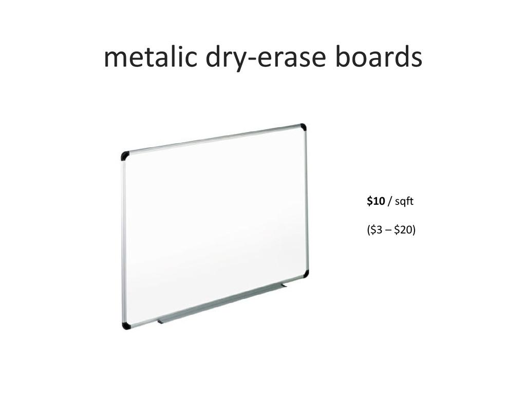 metalic dry-erase boards $10 / sqft ($3 – $20)