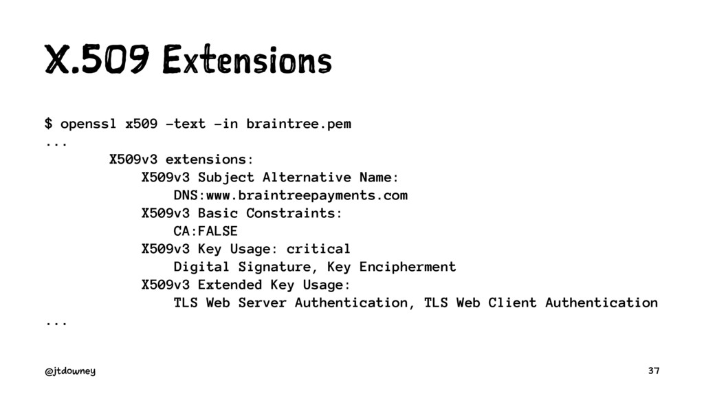 X.509 Extensions $ openssl x509 -text -in brain...
