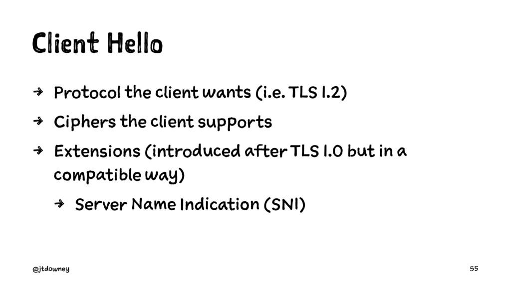 Client Hello 4 Protocol the client wants (i.e. ...