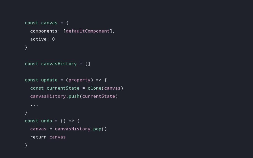 const canvas = { components: [defaultComponent]...