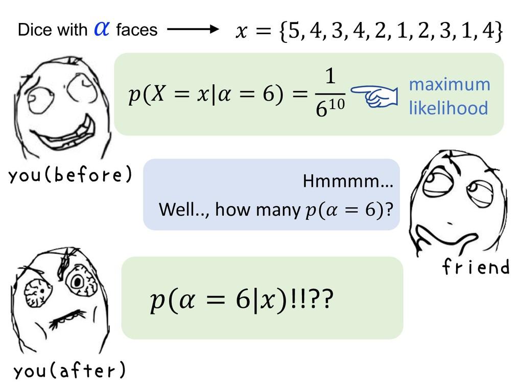 Dice with  faces ( =   = 6) = 1 610 maximum lik...