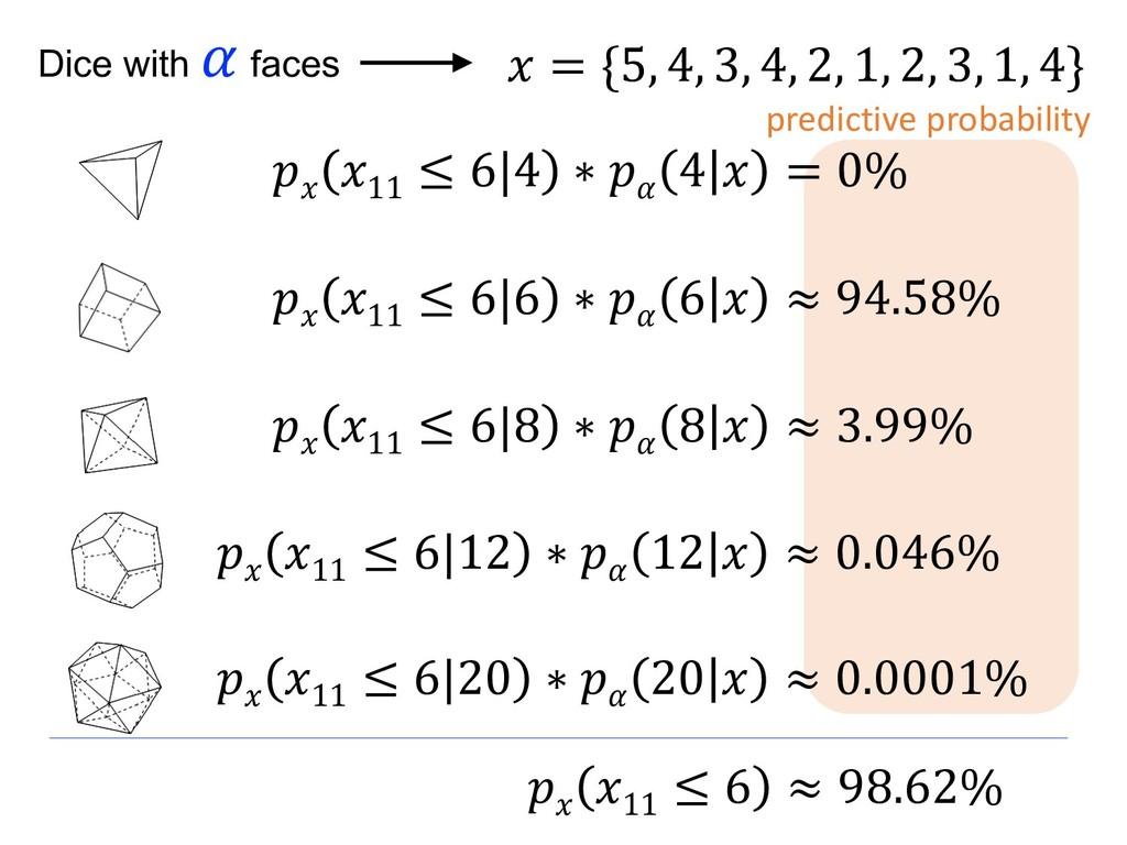 = {5, 4, 3, 4, 2, 1, 2, 3, 1, 4} Dice with  fa...