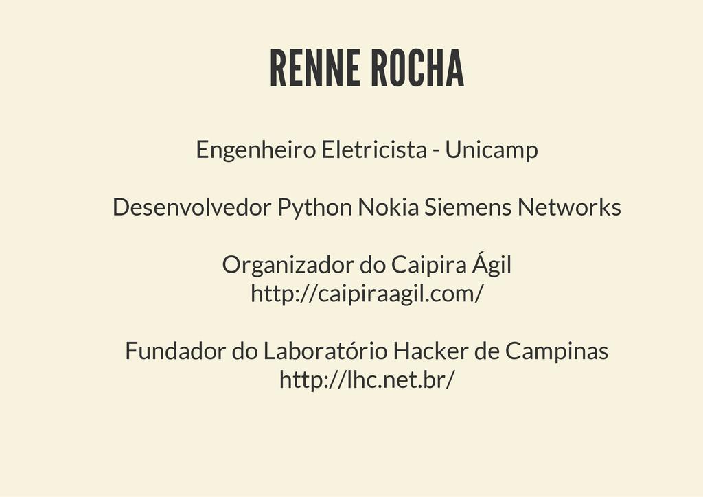 RENNE ROCHA Engenheiro Eletricista - Unicamp De...