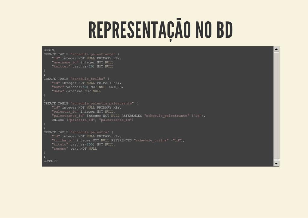 REPRESENTAÇÃO NO BD B E G I N ; C R E A T E T A...