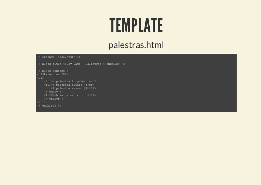 TEMPLATE palestras.html { % e x t e n d s ' b a...