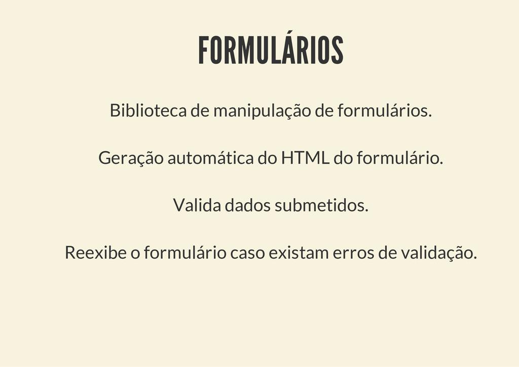 FORMULÁRIOS Biblioteca de manipulação de formul...