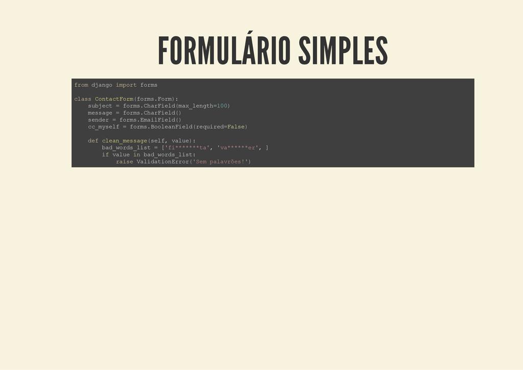 FORMULÁRIO SIMPLES f r o m d j a n g o i m p o ...