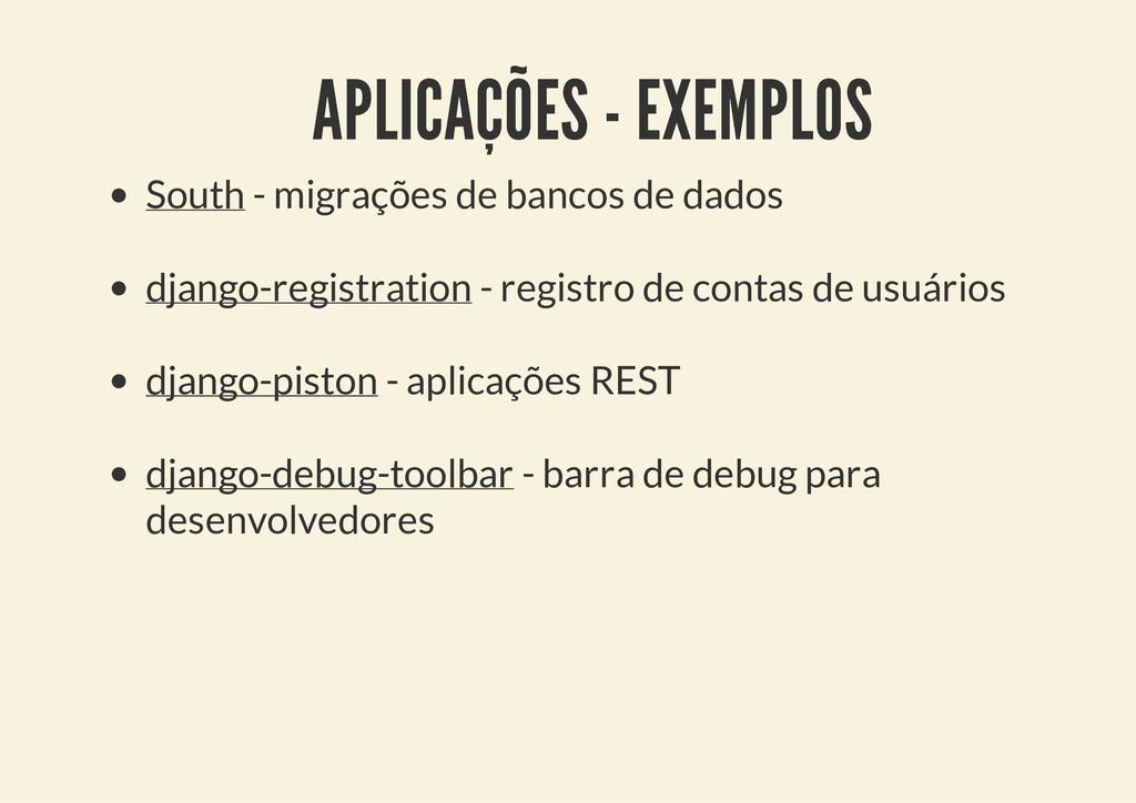 APLICAÇÕES - EXEMPLOS South - migrações de banc...