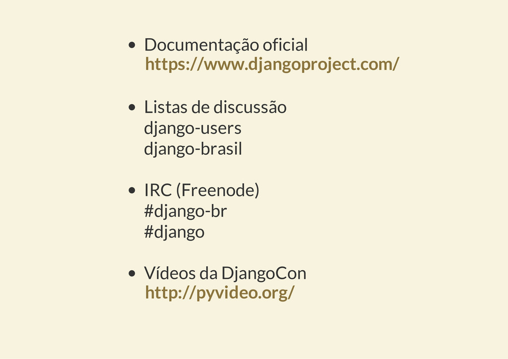 Documentação oficial Listas de discussão django...