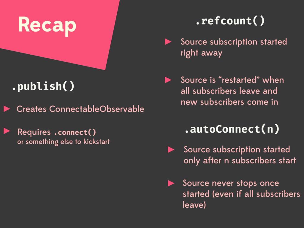 Recap .publish() .autoConnect(n) .refcount() Cr...
