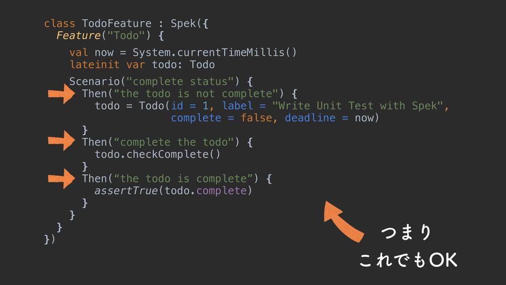"""class TodoFeature : Spek({ Feature(""""Todo"""") { va..."""