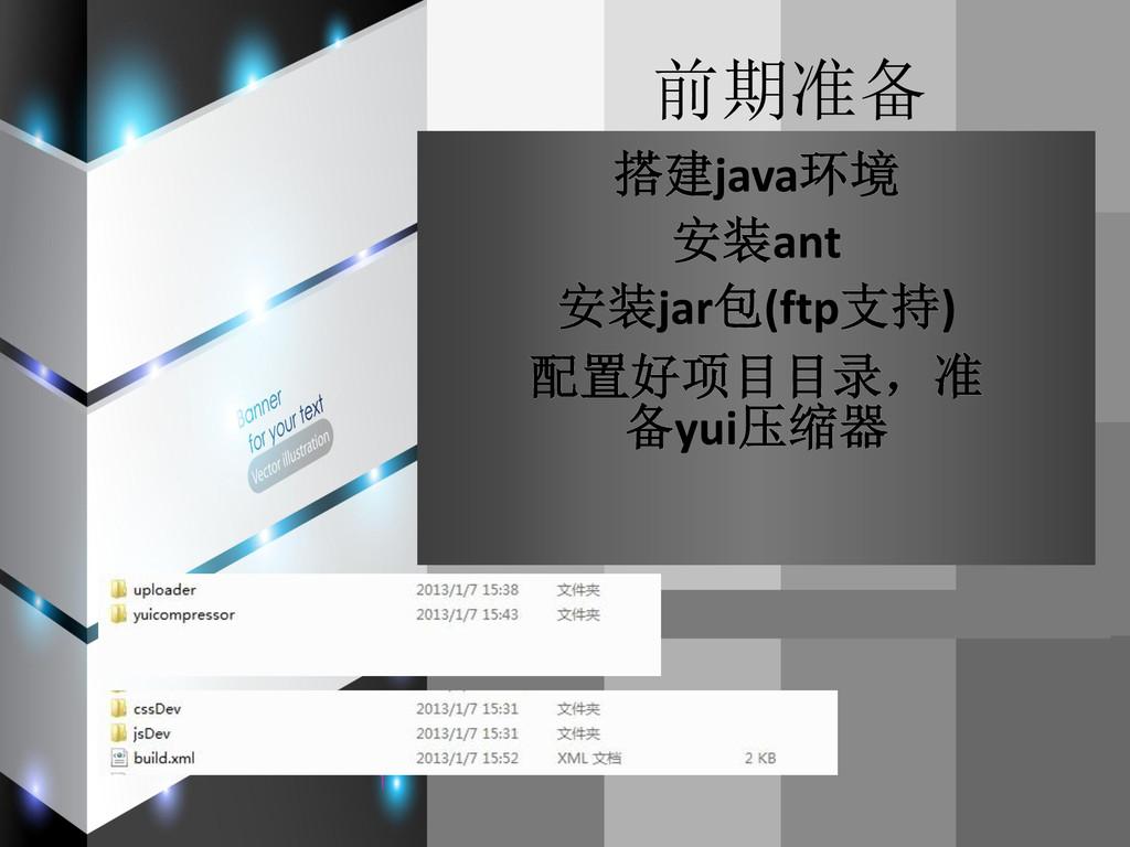 前期准备 搭建java环境 安装ant 安装jar包(ftp支持) 配置好项目目录,准 备yu...