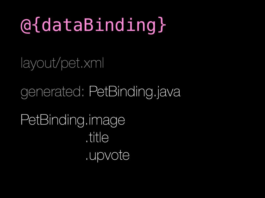 layout/pet.xml generated: PetBinding.java PetBi...