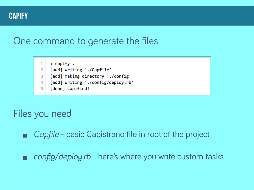 capify One command to enerate the files Files yo...