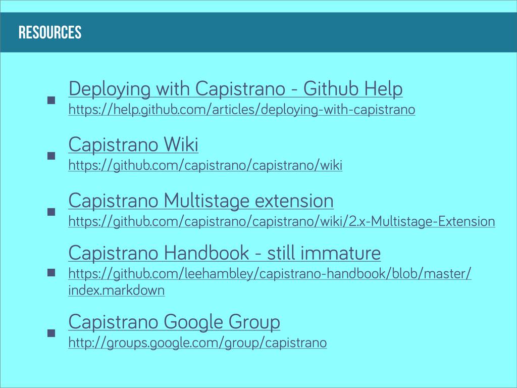 RESOURCES Deployin with Capistrano - Github Hel...