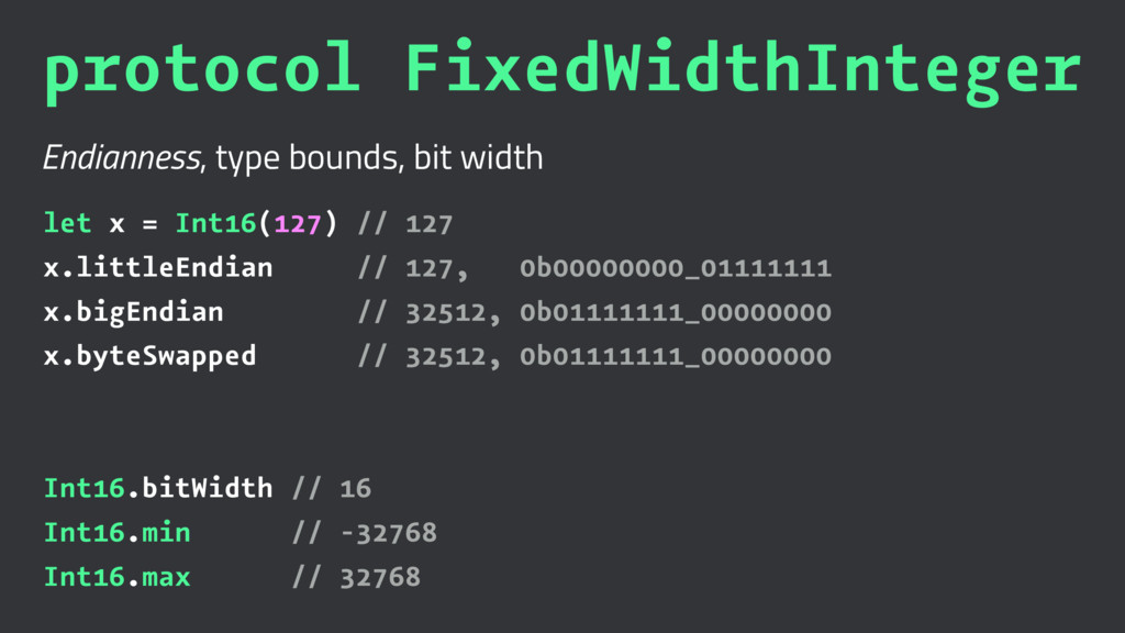 protocol FixedWidthInteger Endianness, type bou...