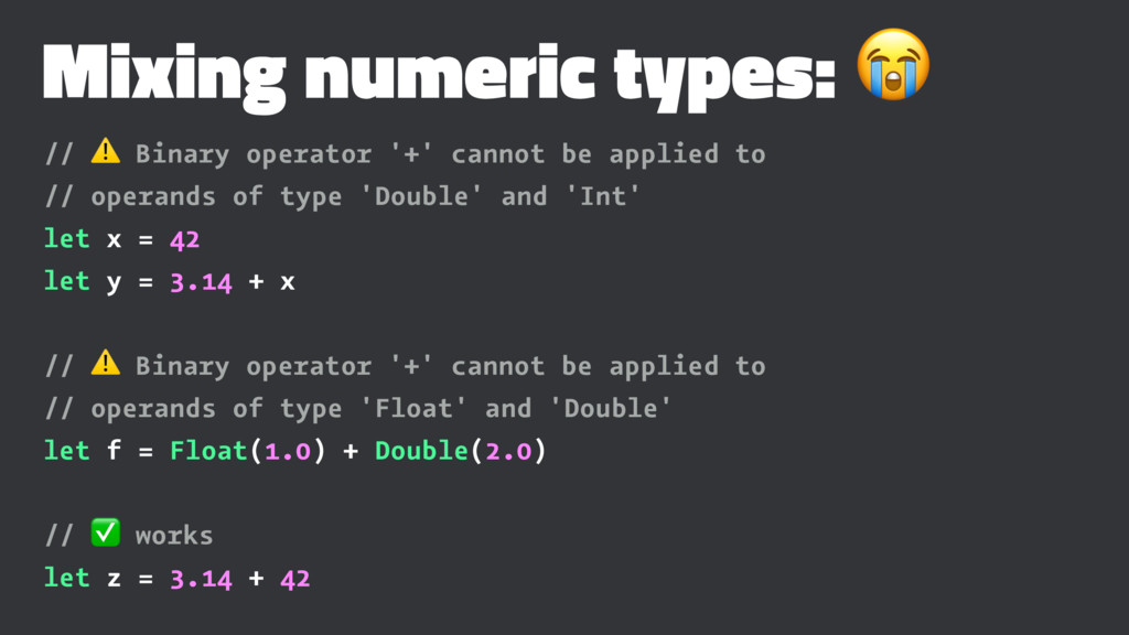 Mixing numeric types: ! // ⚠ Binary operator '+...
