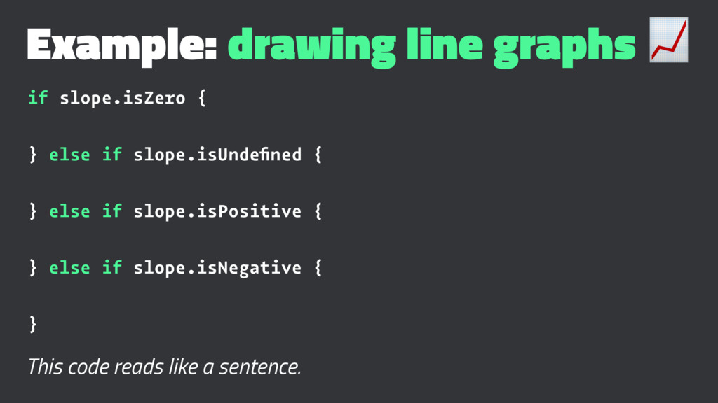 Example: drawing line graphs ! if slope.isZero ...