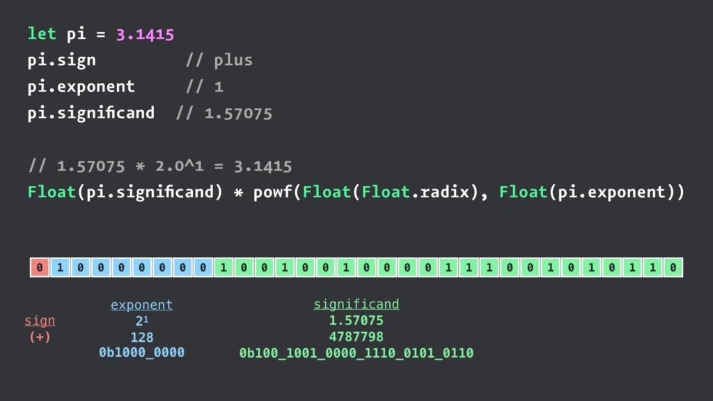 let pi = 3.1415 pi.sign // plus pi.exponent // ...