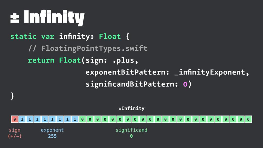 ± Infinity static var infinity: Float { // Float...