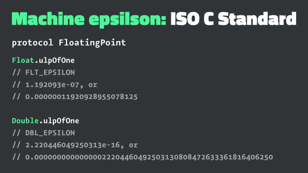 Machine epsilson: ISO C Standard protocol Float...