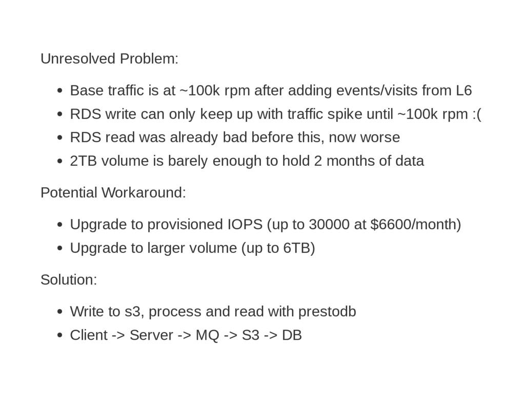 Unresolved Problem: Base traffic is at ~100k rp...