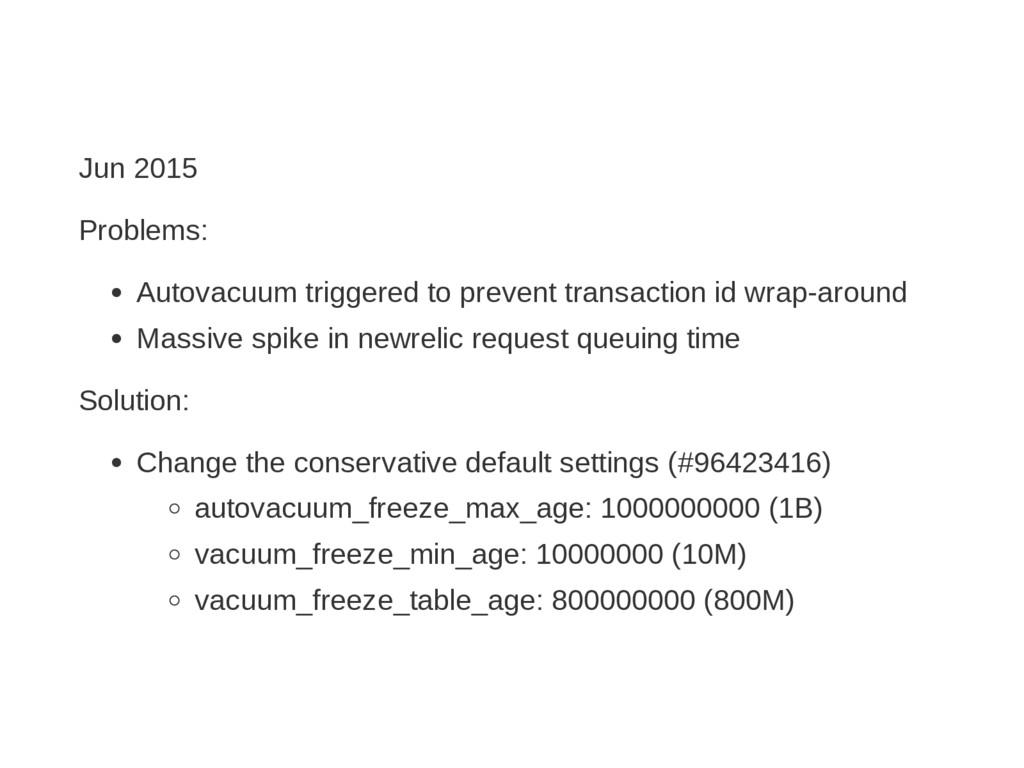 Jun 2015 Problems: Autovacuum triggered to prev...