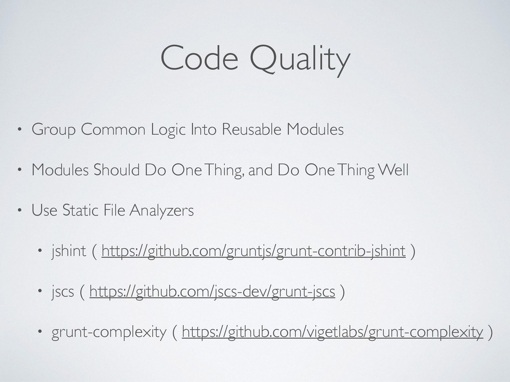 Code Quality • Group Common Logic Into Reusable...