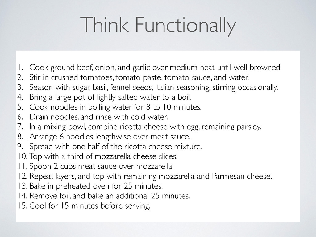 Think Functionally bolognese is onion and oil f...