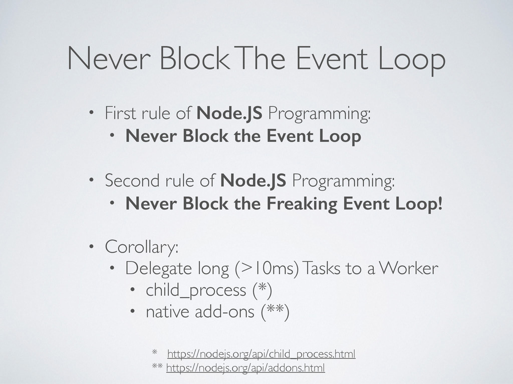 Never Block The Event Loop • First rule of Node...