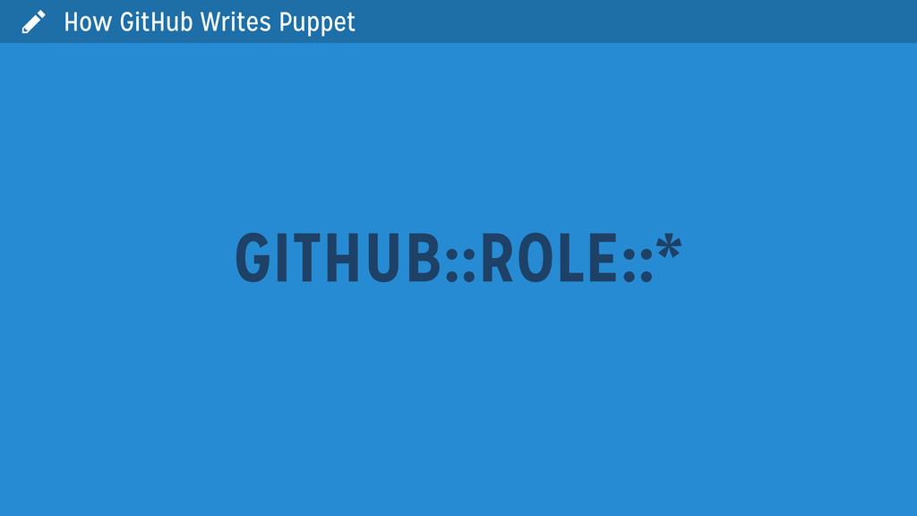  How GitHub Writes Puppet GITHUB::ROLE::*