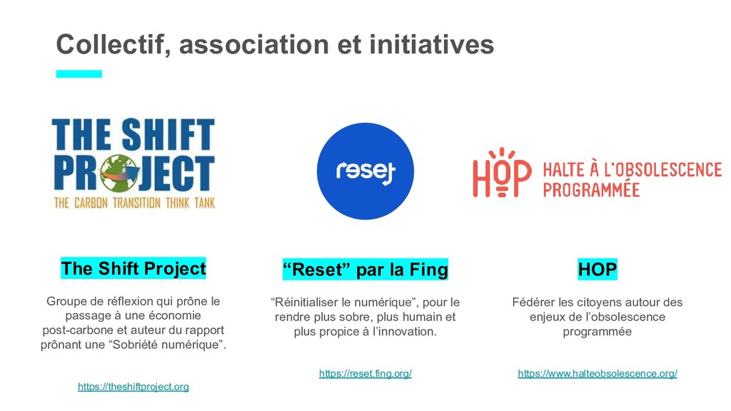 "Collectif, association et initiatives ""Reset"" p..."