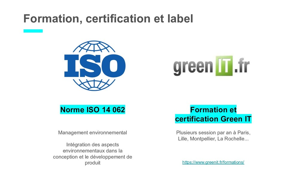 Formation, certification et label Norme ISO 14 ...