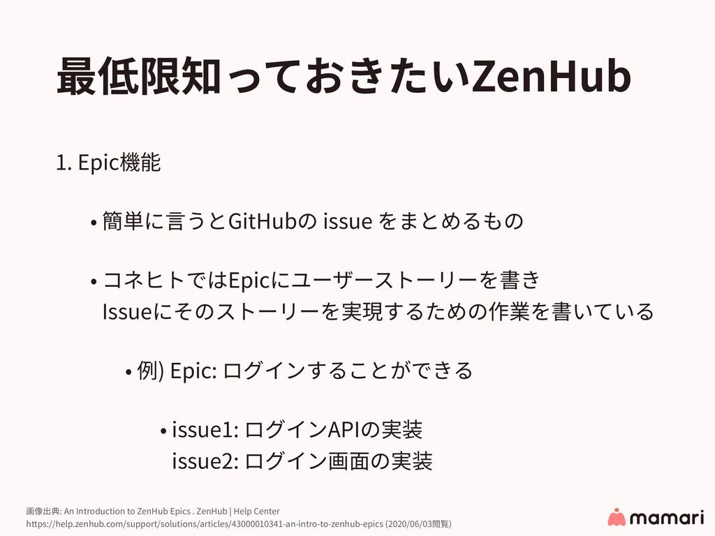 最低限知っておきたいZenHub 1. Epic機能 • 簡単に⾔うとGitHubの issu...