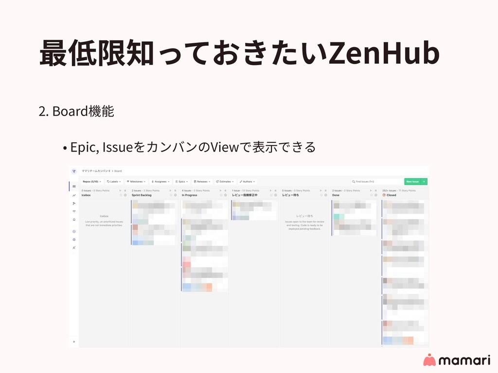 最低限知っておきたいZenHub 2. Board機能 • Epic, Issueをカンバンの...