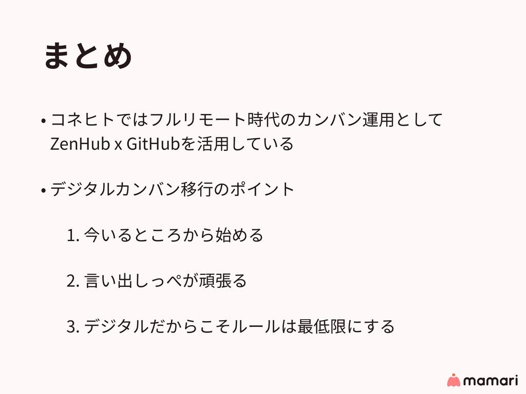 まとめ • コネヒトではフルリモート時代のカンバン運⽤として ZenHub x GitHub...