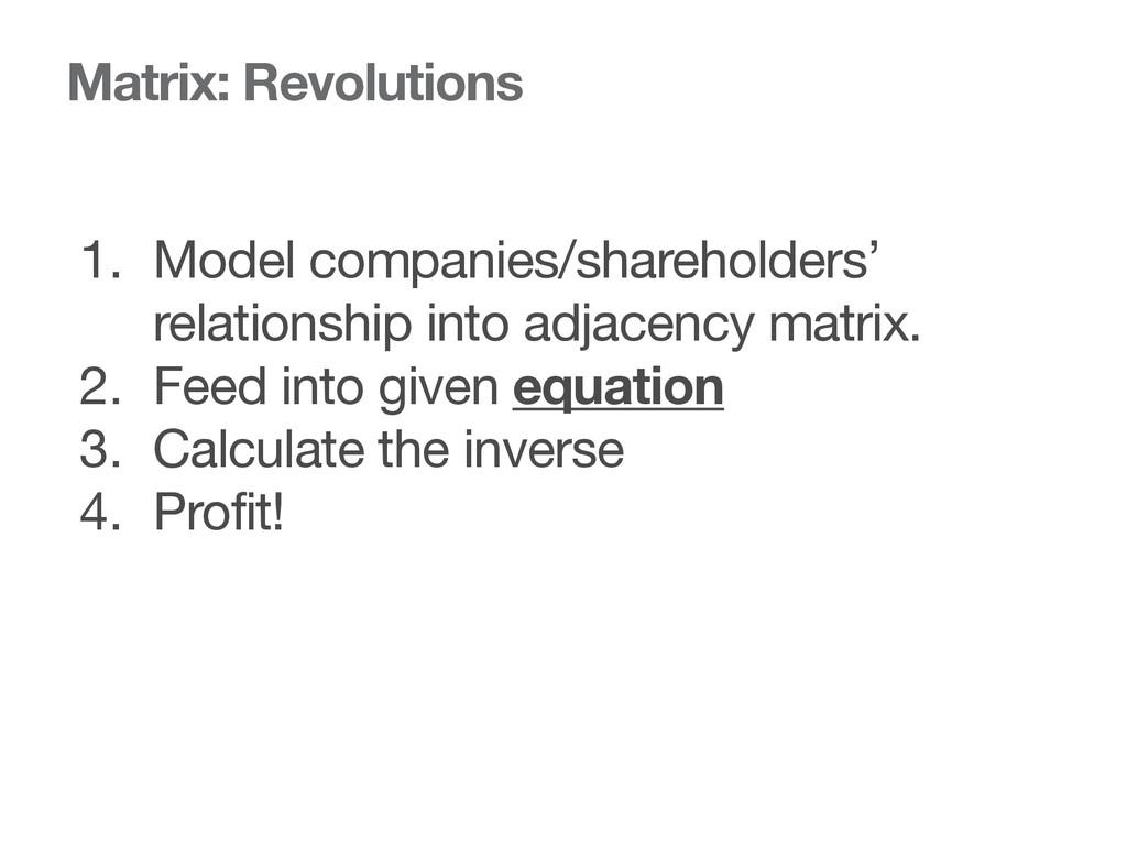 Matrix: Revolutions 1. Model companies/sharehol...