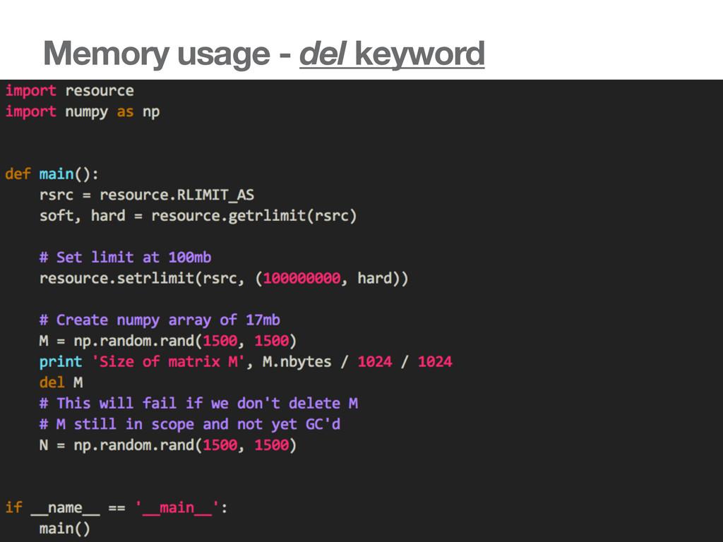 Memory usage - del keyword