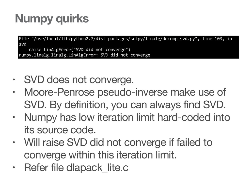 "Numpy quirks File ""/usr/local/lib/python2.7/..."