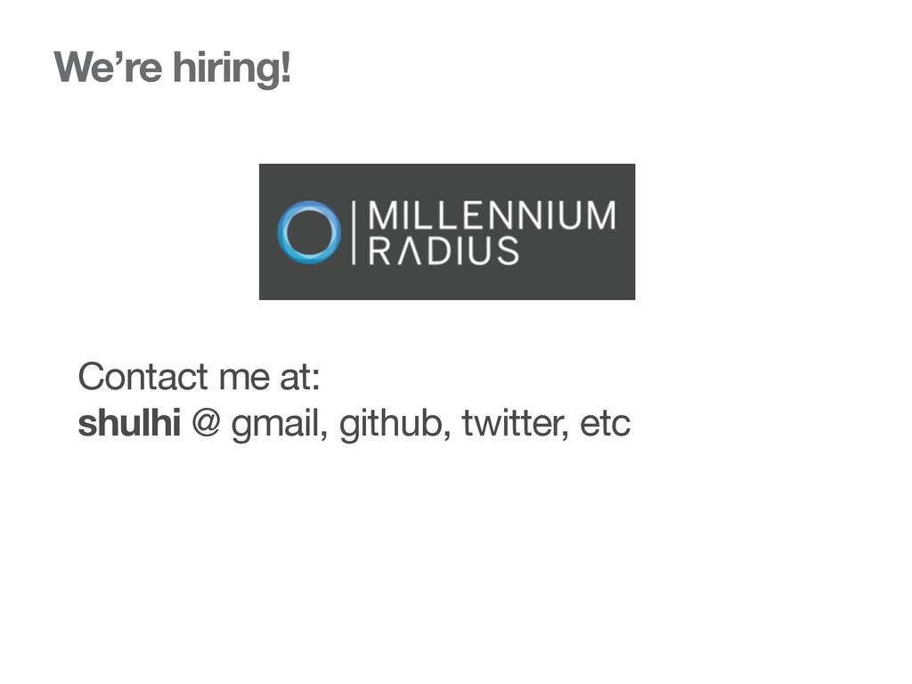 We're hiring! Contact me at:  shulhi @ gmail, g...