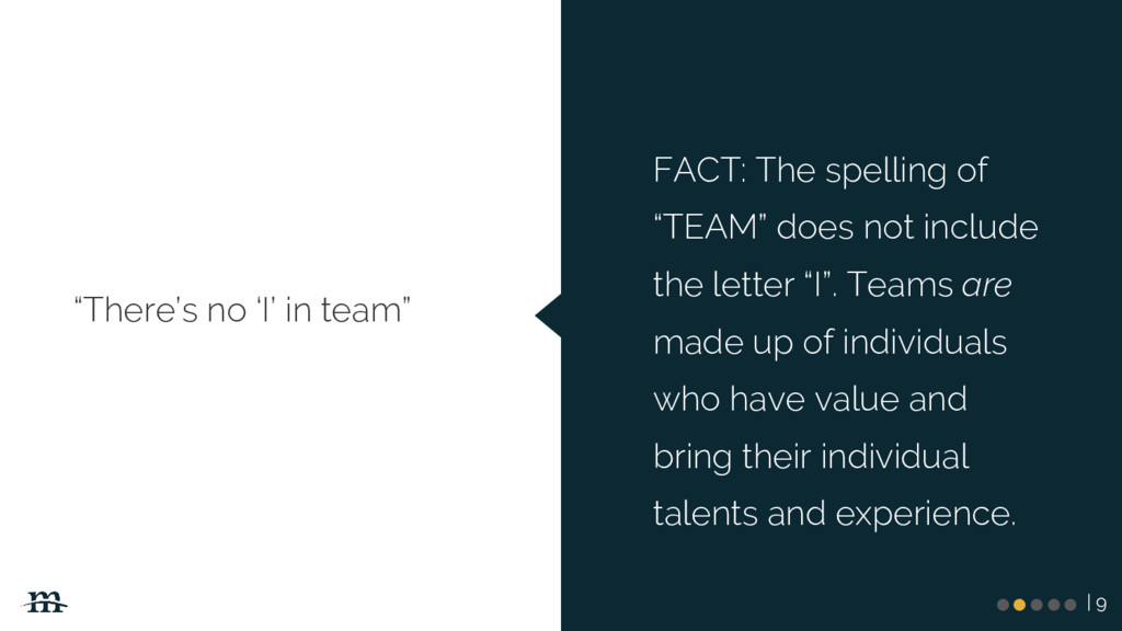 "| 9 ""There's no 'I' in team"" FACT: The spelling..."