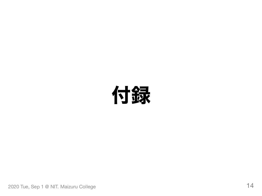 付録 2020 Tue, Sep 1 @ NIT. Maizuru College 14