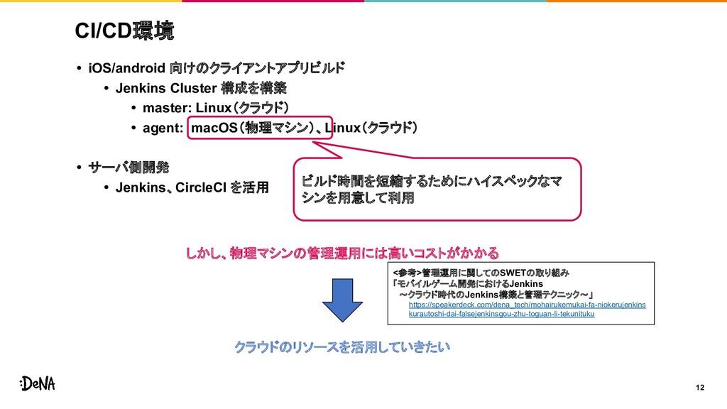 CI/CD環境 • iOS/android 向けのクライアントアプリビルド • Jenkins...