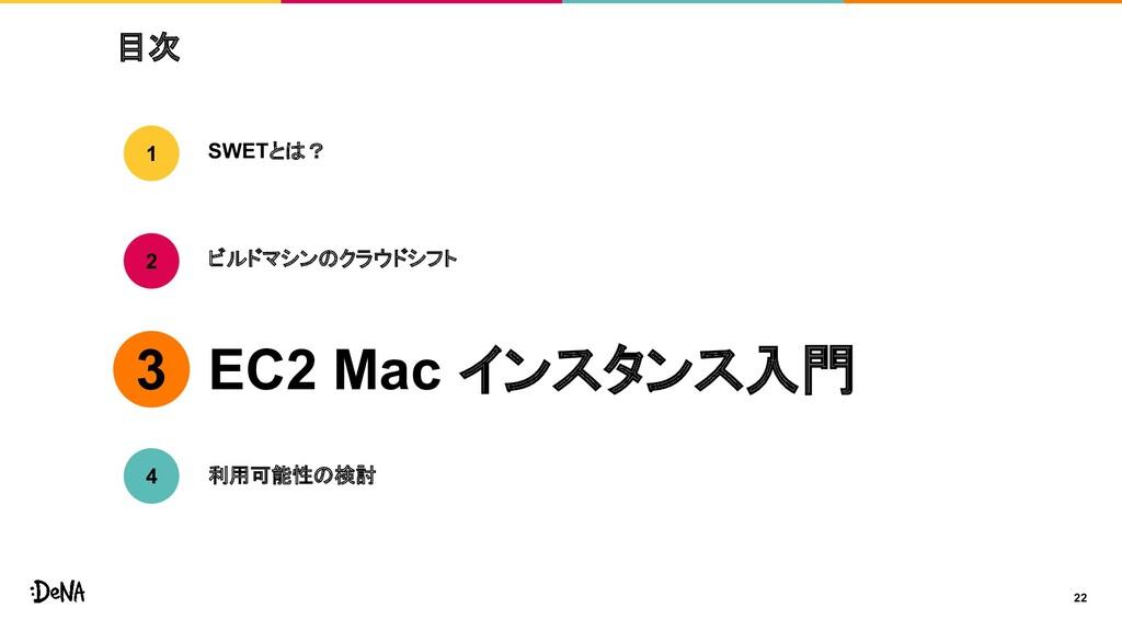 目次 22 SWETとは? ビルドマシンのクラウドシフト EC2 Mac インスタンス入門 1...