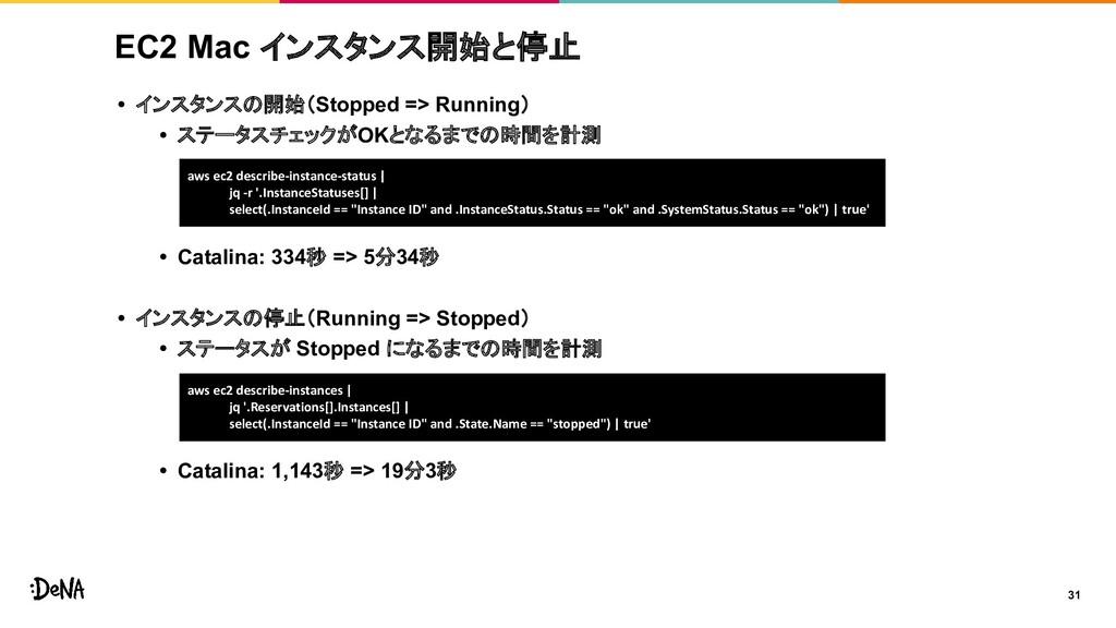 EC2 Mac インスタンス開始と停止 • インスタンスの開始(Stopped => Runn...