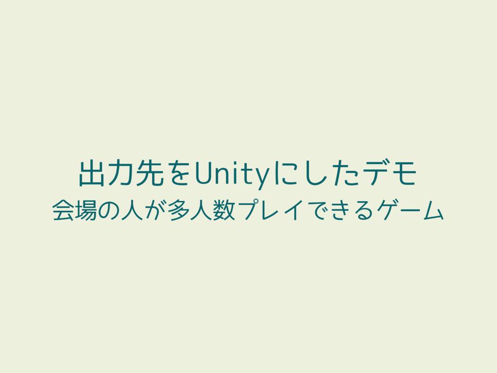 出力先をUnityにしたデモ 会場の人が多人数プレイできるゲーム
