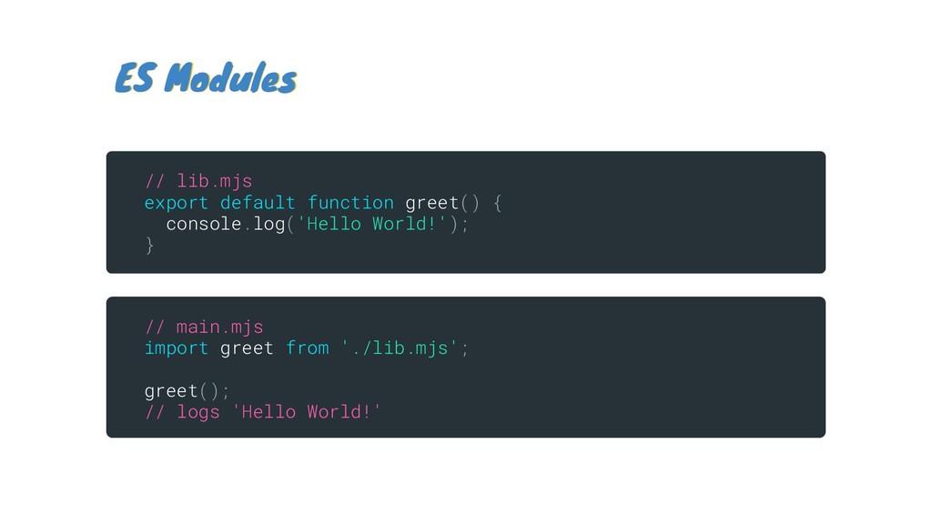 ES Modules ES Modules // lib.mjs export default...