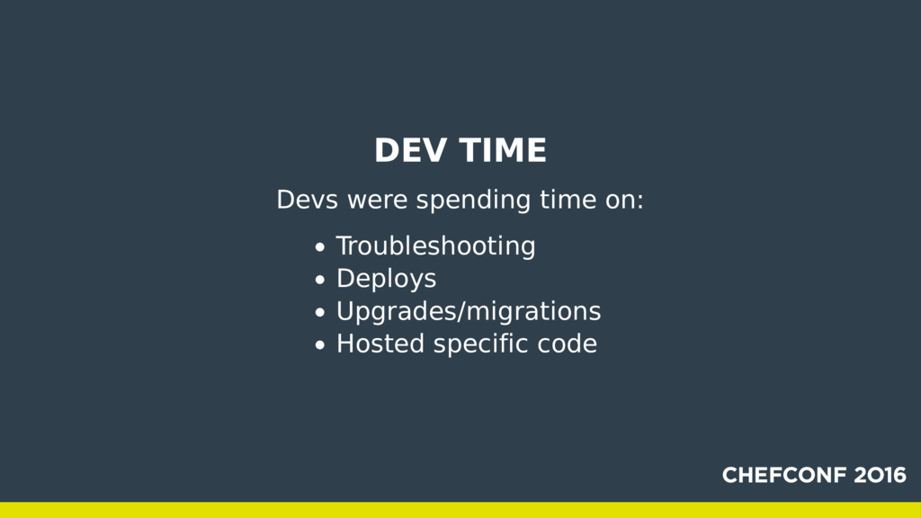 DEV TIME Devs were spending time on: Troublesho...