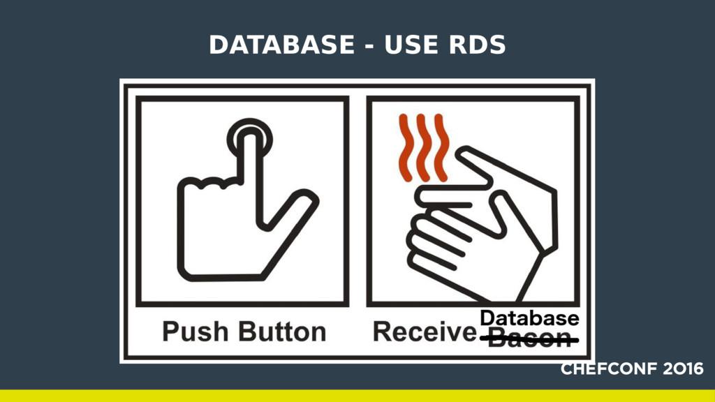 DATABASE - USE RDS