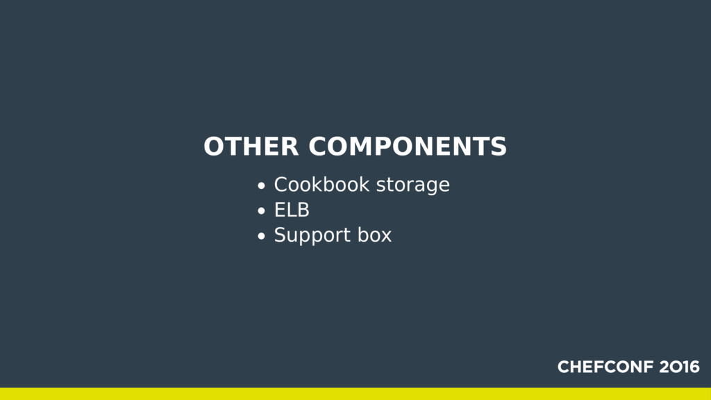 OTHER COMPONENTS Cookbook storage ELB Support b...